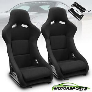 Universal Black Left/Right Fabric Fabric Sport Style Racing Seats+Slider Pair