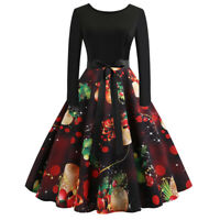 Womens Vintage Long Sleeve Christmas Prom Evening Party Swing Long Dress Skirt