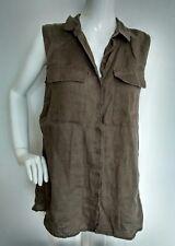 PART TWO long oversized linen shirt size 12 khaki 100% Linen