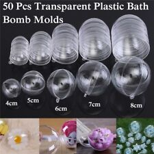 50Pcs 4/5/6/7/8cm Clear Plastic Bath Bomb Moulds Round Ball Mold Bathing Tools