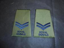 Pair British Military Army Royal Signals CORPORAL CPL  Green Rank Slides