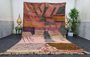 "Moroccan Boujaad Handmade Rug 6'2""x9'4"" Berber Patchwork Pink Black Wool Carpet"