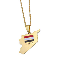 Syria map Syria flag stainless steel 60 cm chain necklace