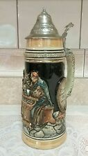 German Lidded Beer Stein Mug Made In West Germany 11 1/2'' tall ~Quite Old Enjoy
