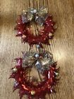 2 Vintage Shiney Tinsel Like Aluminum Paper Christmas Wreaths Red & Gold