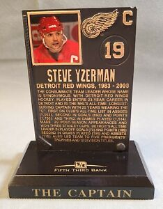Steve Yzerman Commemorative Hall of Fame Plaque Detroit Red Wings NHL #19 - Used