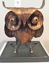 Curtis Jere Mid-Century Modern Huge Brutalist Owl with Original Pedestal c1968