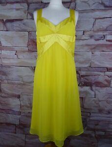 TEATRO BNWT yellow satin and chiffon strappy dress size 14