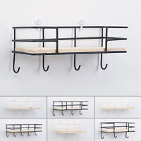 Iron Metal Wood Wall Shelf Shelves Hanging Rack Hook Industrial Modern Storage