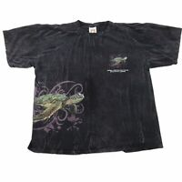 VTG GUMBO LIMBO NATURE CENTER FLORIDA ALL OVER PRINT SEA TURTLE BLACK T SHIRT XL