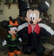 HALLOWEEN LIGHTED AIRBLOWN MICKEY & MINNIE MOUSE VAMPIRE & WITCH FIGURE YARD SET