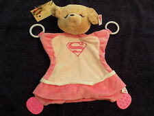SECURITY BLANKET GUND PUPPY DOG SUPER GIRL YVETTE PINK TEETHER ACTIVITY RINGS