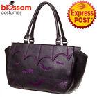 RKN110 Banned Bats Shoulder Bag Rockabilly 50s Punk Goth Vampire Purple Handbag