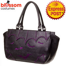RKN110 Banned Bats Shoulder Bag Rockabilly 50s Punk Goth Vampire Purple Handbag