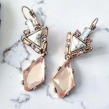 Vintage white stone & peach pink crystal statement dangling diamond earrings