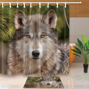 Animal Decor Looks To Distant Gray Wolf Bathroom Home Fabric Shower Curtain Set