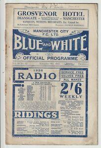 Manchester City V Everton Rare Division One Programme 1935/36