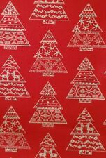SCANDI RED CHRISTMAS TREES QUILTING FABRIC