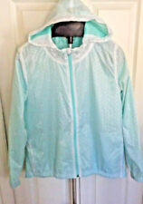 ADRIANNA PAPELL Womens Aqua Zip-Up Parka Jacket Hooded Flower Cut-Outs  L NWOT