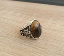Sterling Silver mens ring with large Tiger`s eye stone. Hand made silver ring.