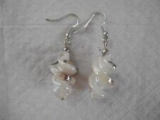 New listing White-multicolor twisted glass handmade earrings + stoppers