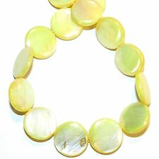 """MP2542L Yellow AB 20mm Flat Round Coin Mother of Pearl Shell Beads 14"""""""