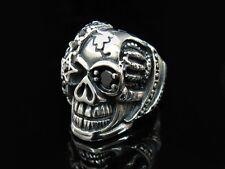 Black CZ SKULL Rock Star Heavy Silver Ring for Harley Davidson Biker King 74