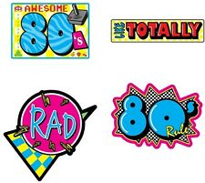 4 Totally AWESOME 80's Die-Cut Wall Decorations*80's themed Party*