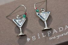 Silpada 925 Sterling Silver Martini Olive Glass CZ Cubic Zirconia Earrings W1002