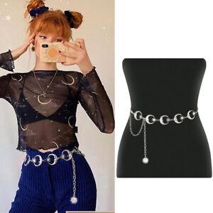 Ladies Crescent Moon Belt Silver Sun Metal Goth Punk Witch Waist Chain Belt 2021