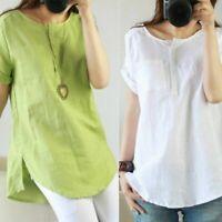 Women Cotton Linen Short Sleeve T-shirt Summer Loose Casual Solid Tops Blouse US