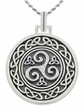 1.0in 0.925 Plata de Ley Irlandés Nudo Celta Trisquelion Collar con Colgante