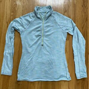 Athleta Gray Green Stripe 1/4 Zip  Running Jacket M Excellent