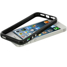 Black TPU Bumper Case Skin Cover w/ Metal Buttons for iPhone 5 5S