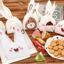 10Pcs Cute Rabbit Gift Bag Self-Adhesive Plastic Bag Biscuit Bag Food Bag Party