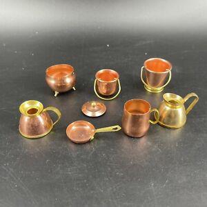 Vintage 8 Piece Lot Copper Brass Pots & Pans Cookware Dollhouse Miniature