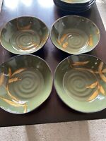 "Set Of 4 Pier 1 Green Dakara Cereal  / Soup Bowls 7 7/8"" Very Nice Condition"