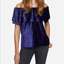 NEW Sanctuary Purple Velvet Off Shoulder Top Blouse Size M