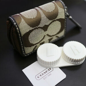 NEW COACH Signature C Travel Contact Lens Case Khaki/Mahogany NWT