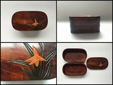 Japanese Wooden Lunch Box Vintage Lacquer Ware Lidded Flower 2nd Grade Q844