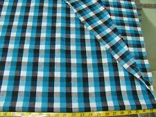 BTY VINTAGE BLUE YARN DYED PLAID  ALL COTTON FLANNEL FABRIC 43""