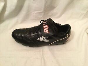 VTG MITRE  Leather Soccer Shoes Cleats Black/Redm Size US 10.5