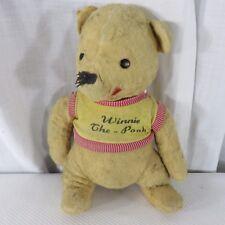 """Vintage Disney Winnie The Pooh Mohair Felt 1960s 14"""" Teddy Bear Well Loved"""