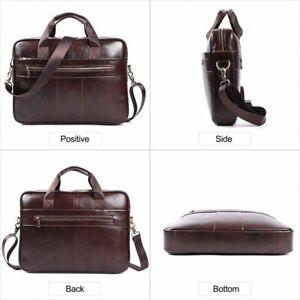 Fashion Casual Genuine Leather Men Briefcase 15.6 Inch Laptop Bag Tote Handbags