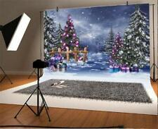 7x5ft Background Christmas Tree Night Snow Peace New Year Backdrop Photo Props