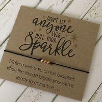 Friendship Sparkle Card Wish String Rose Gold Charm Bracelet Gift Tag #29A