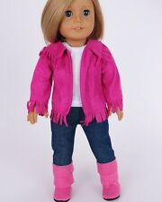 "Doll Clothes AG 18"" Western Hot Pink Suede Outfit 4 Pc Made To Fit American Girl"