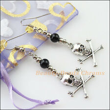 Winsome Silver Retro Skull Black Glass Dangle Hook Earrings Women Jewelry