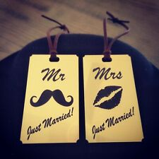 Mr & Mrs Luggage Tags Personalised personalized elegant wedding gift honeymoon