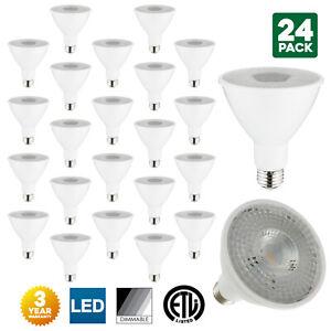 24-Pack Sunlite LED PAR30 Long Neck Bulbs, 3000K, Dimmable, 10W, Medium Base